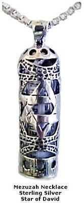 Mezuzah Necklace with Star of David - Silver