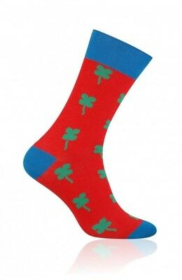 "More ""Lucky 1"" Socks MENS  RED CLOVER PATTERN COLOURFUL EVERYDAY HAPPY SOCKS"