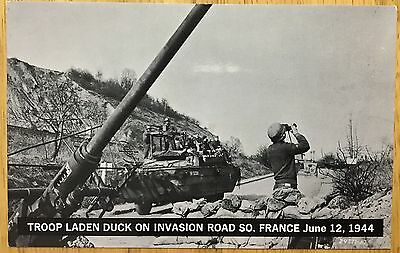 DL072 Troop Laden Duck Invasion Rd US Army South France 1944 Vintage PC