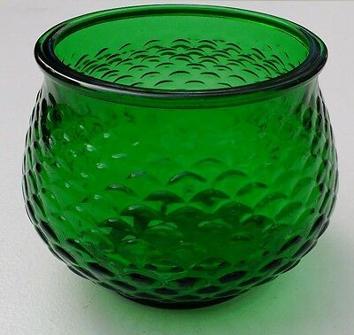E O Brody Co Vase Bowl Glass Fish Scale Pattern Cleveland OH Emerald Green G100
