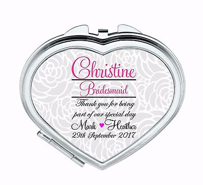 Personalised Compact Mirror Bridesmaid Mother Wedding Favour Thank You Gift