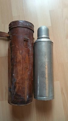 Vintage Metal Pewter Chinese Thermos with Leather Sheath, Hand Decorated,