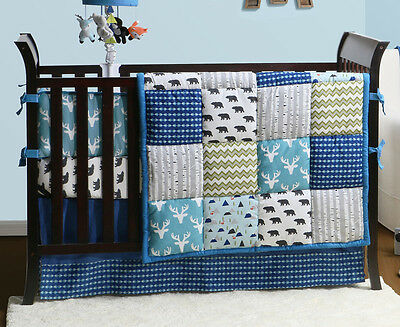The Peanut Shell Woodland Dreams 4-Piece Crib Set - Blue