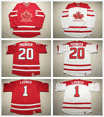 Men's Team Canada 2010 Olympic Jersey #1 Luongo #20 Pronger Blank White / Red