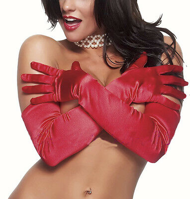 Gants Longs  ROUGE RED gloves  mariage Soirée Taille M Finition Satin