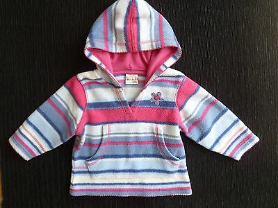Baby clothes GIRL 9-12m NEXT fleece pink,blues,white hooded long sleeve jacket