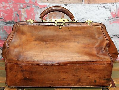 Vintage Doctor's Medical Bag Brown Leather Apothecary Bag Old Medical Bag Dr Bag