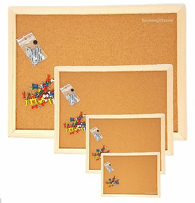 Cork Board Pin Message Notice Board Wooden Frame Pinboard Push Pin Office School