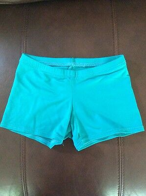 MOTION WEAR Dance Gymnastics Fitness Shorts Teal Youth 12-14