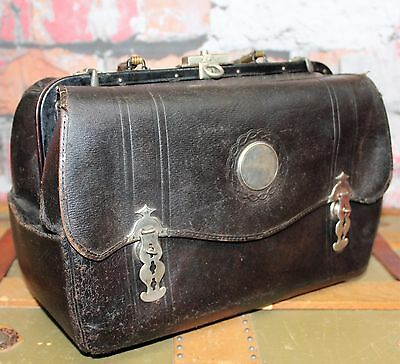 Antique Victorian Era Doctor's Medical Bag Black Leather Apothecary Dr. Bag