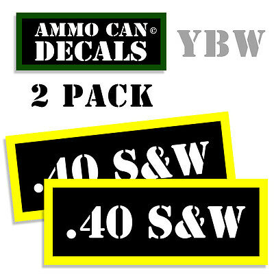 .40 S&W Ammo Label Decals Box Stickers decals - 2 Pack BLYW