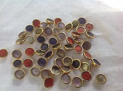 Vintage Mother Of Pearl Set 81 Multicolored Gold Tone Shank Buttons