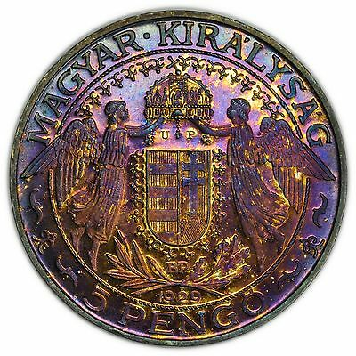 Hungary 1929 5 Pengo, Large, Rare, Silver Proof Coin, Toned [3125.140]