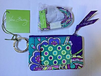 New With Tags VERA BRADLEY ZIP ID CASE & LANYARD NEW  Heather SET GIFT