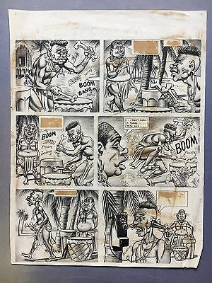 "Cracked Magazine #?? pg.?? 1960's original art by Bill Ward (McCartney) ""Africa"""