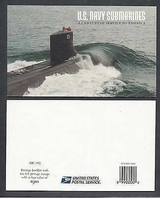 Scott 3373 - 3377 US Navy Submarines  Booklet Of 10 Mint Never Hinged $9.80 FV