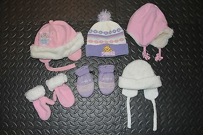 Toddler Girls Winter Hats & Mittens Lot