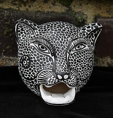 White Clay Jaguar Wall Mask Amatenango Hand made Chiapas Mexico Folk Art Tribal