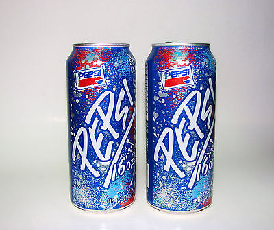 (2) Vintage 90's Pepsi 16oz Slam Can Soda Pop Cans 1996