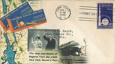 King & Queen of England Visit the 1939-40 New York World's Fair FDC #853
