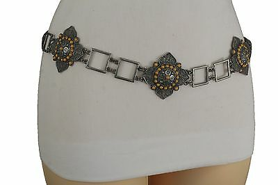 Women Ethnic Vintage Silver Metal Flower Charm Fashion Belt Hip High Waist S M L