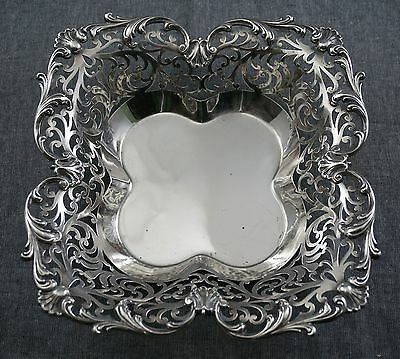 "Bailey Banks & Biddle STERLING SILVER Reticulated Pierced DISH #6938 8"" square"
