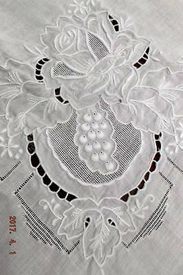 Antique Italian linen padded embroidery & appenzell tablecloth~Heirloom ~Sale!
