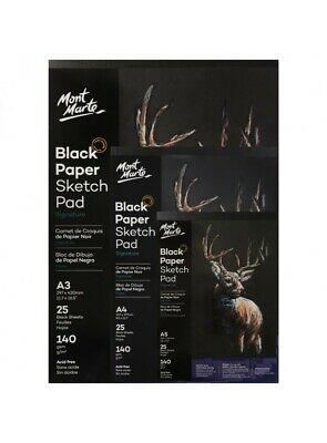 1pce Mont Marte Black Paper Sketch Pad 140gsm 25 Sheets, A3 A4 A5, Sketching Pap