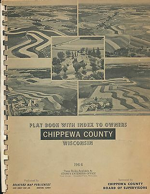 Plat Book w Index to Owners Chippewa County Wisconsin Map Vtg 1966 1960S History