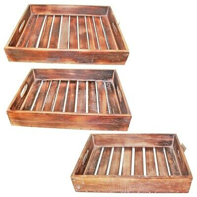 1pce Natural Brown Wooden Carry Tray with Slats, Hand Made, Beach House