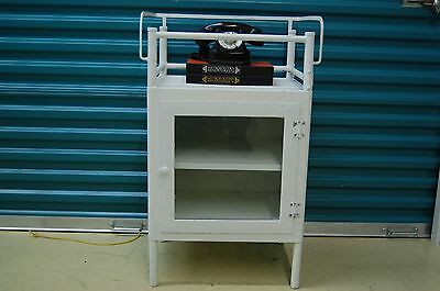 Vintage 1940's Metal Medical Cabinet, Dental Cabinet, Apothecary Cabinet, glass
