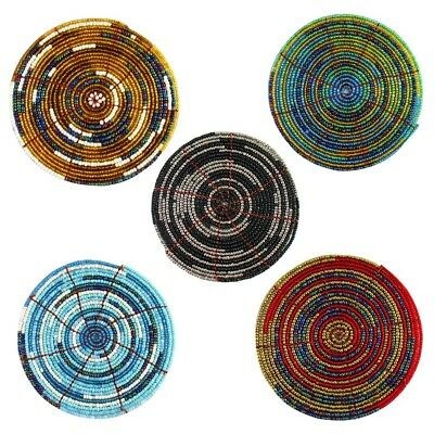 10cm Handmade Glass Beaded Coaster, in Two Tone Design with Metallic Finish