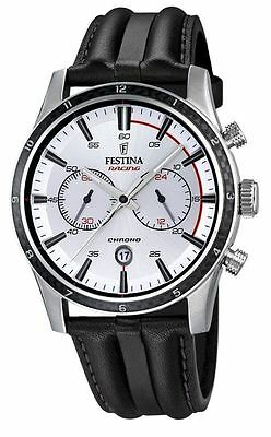 NEW Festina F16874/1 Mens Watch Chrono Sport Silver Dial Black Leather Strap
