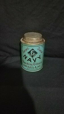 Rare 1900 G W GAIL & AX NAVY CHEWING & SMOKING TOBACCO TIN CAN CANISTER RARE