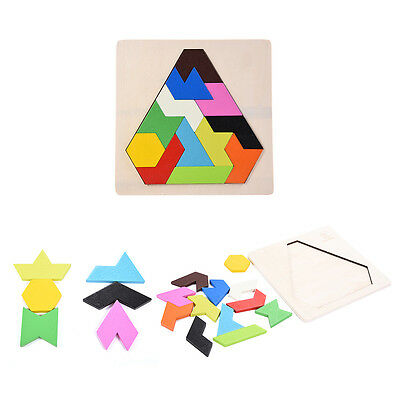 DIY Brain Wooden Wood Tangram Teaser Jigsaw Puzzle Baby Kid Intelligent Game Toy