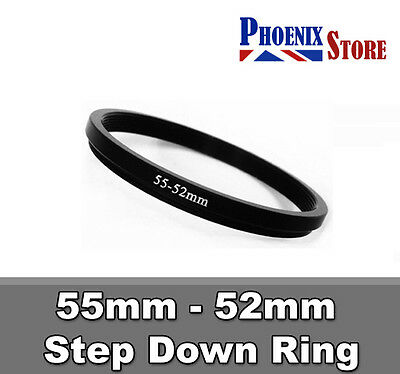 55mm-52mm 55-52 mm 55 to 52 Step Down Filter Ring Stepping Adapter Adaptor Black