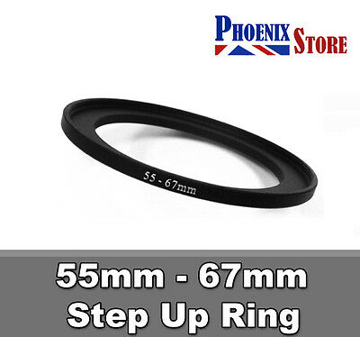 55mm-67mm 55-67 mm 55 to 67 Step Up Filter Ring Stepping Adapter Adaptor Black