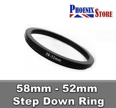 58mm-52mm 58-52 mm 58 to 52 Step Down Filter Ring Stepping Adapter Adaptor Black