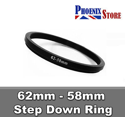 62mm-58mm 62-58 mm 62 to 58 Step Down Filter Ring Stepping Adapter Adaptor Black