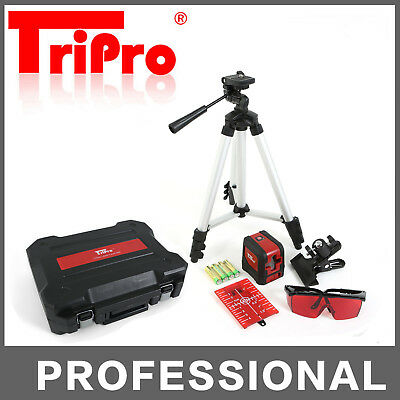 Self Leveling Palm Pocket Cross Line Laser Level Bright Red Beam Kit Set Tripod