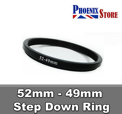 52mm-49mm 52-49 mm 52 to 49 Step Down Filter Ring Stepping Adapter Adaptor Black