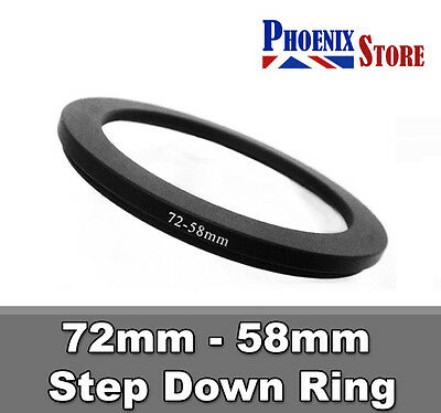 72mm-58mm 72-58 mm 72 to 58 Step Down Filter Ring Stepping Adapter Adaptor Black