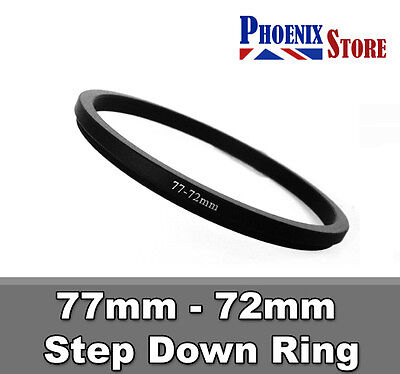 77mm-72mm 77-72 mm 77 to 72 Step Down Filter Ring Stepping Adapter Adaptor Black