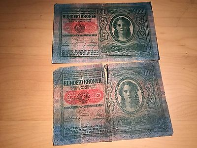 "Lot of 2 1912 Austria Hungary 100 Kronen Note with ""DEUTSCHÖSTERREICH"" overstamp"