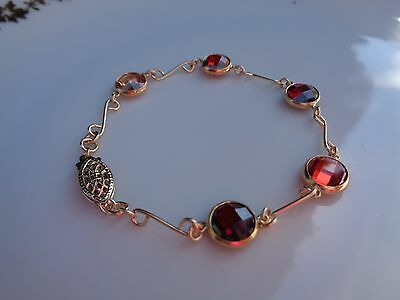 Gold Armband,585 Gold Filled, mit Zirkonia in feurigem Rot!