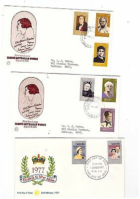 Australia 1975/77 Group of WCS FDCs          ( 3 Covers )