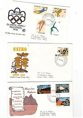 Australia 1976 Group of WCS FDCs          ( 3 Covers )