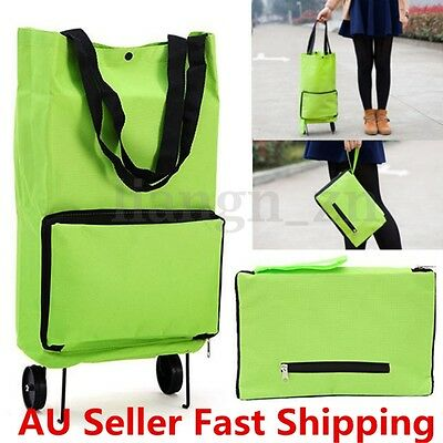 Green Protable Shopping Trolley Tote Bag Foldable Cart Rolling Grocery Wheels