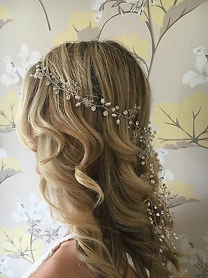 Long pearl and crystal silver bridal hair vine / prom/ festival hair accessory