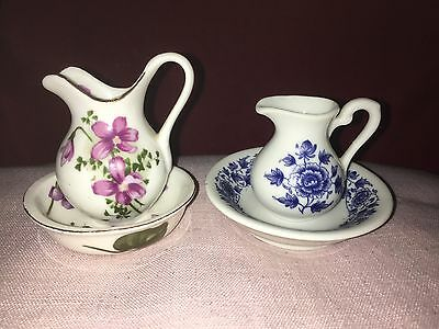 Pretty Pair of Miniature Porcelain Jugs and Bowls,Purple Flowers,Blue Flowers